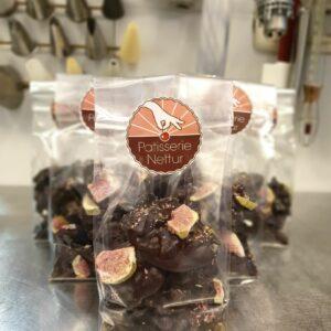 Pure chocolade rotsjes met vijg en walnoot